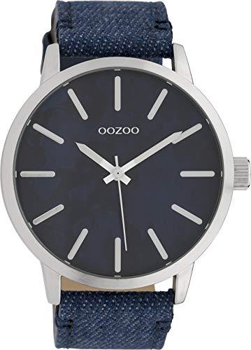 Oozoo Herrenuhr mit Lederband 45 MM Camouflage Dunkelblau/Jeans Blau C10002