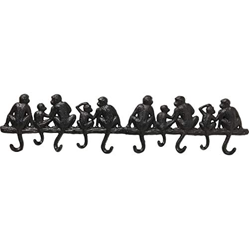 Kare Design Wandgarderobe Monkey Family Gross, Garderobe mit Affen Motiv in der Farbe Schwarz, Garderobe für den Eingangsbereich mit Tiermotiv, weitere Ausführungen erhältlich (H/B/T) 14x61x3cm