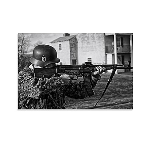 Canvas Wall Art for Living Room Bedroom Decoration Automatic Assault Rifle STG 44 Gun Poster Wall Boy Living Room Bedroom Bathroom Wall Home Decor 12x08inch(30x20cm)