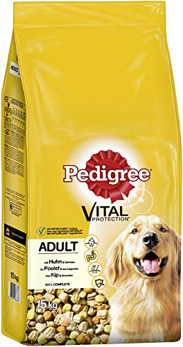 Pedigree Hundefutter Trockenfutter Adult mit Huhn und Gemüse, 1 Beutel (1 x 15kg)