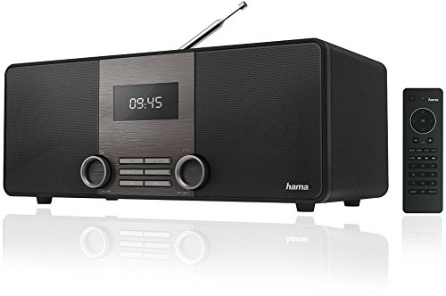 Hama DIR3010 Internet-/Digitalradio (WLAN/LAN/DAB+/DAB/FM, 2,6 Zoll Display, mit Fernbedienung, USB-Anschluss mit Lade- und Wiedergabefunktion, zwei Weckzeiten, Wifi Streaming, App) schwarz