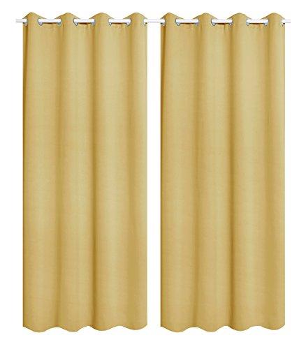 WOLTU VH5865gb-2, 2er Set Gardinen Vorhang Blickdicht mit Ösen, Leichte & weiche Verdunklungsvorhänge für Wohnzimmer Kinderzimmer Schlafzimmer 135x245 cm Gelb