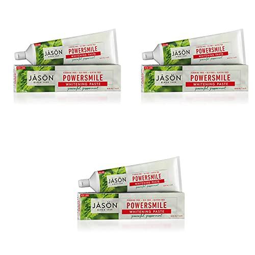 Jason Powersmile Whitening Fluoride-Free Toothpaste, Powerful Peppermint, 6 Oz Set of 3