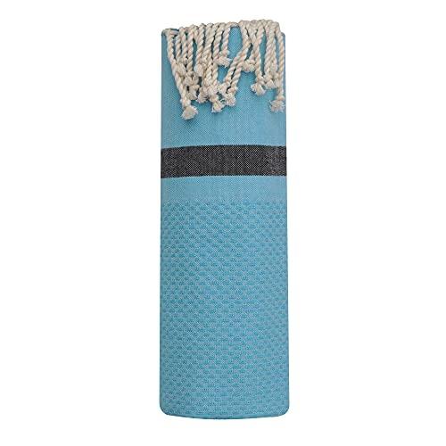 LES POULETTES Asciugamano FUTA o Hammmam Cotone Spiaggia Favo Turchese con Striscia Nera 100 x 200cm