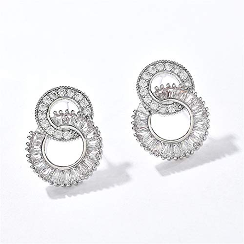 ZSDFW - Pendientes de doble anillo redondo con diamantes de imitación, pendientes de gancho, pendientes colgantes para mujeres y niñas, accesorios de regalo