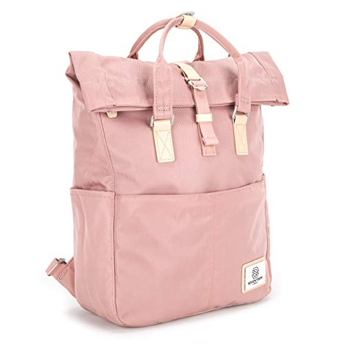 SEVENTEEN LONDON – Modern Cycling Pink 'Soho' Fold Roll Top Backpack in a Classic Slim Urban Design – Fits Laptops up to 13'