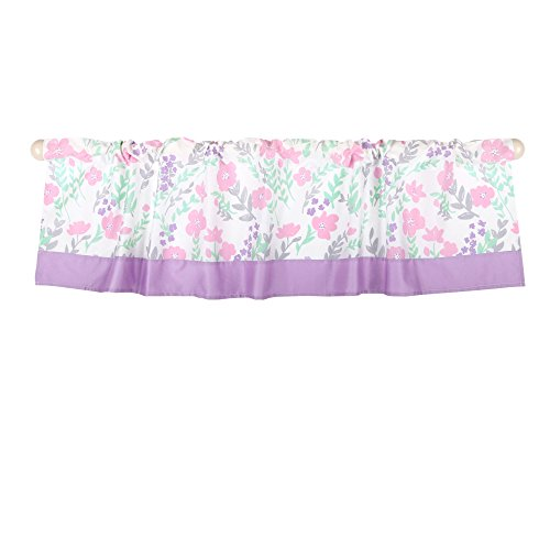 Pink and Mint Green Floral Print Window Valance by The Peanut Shell
