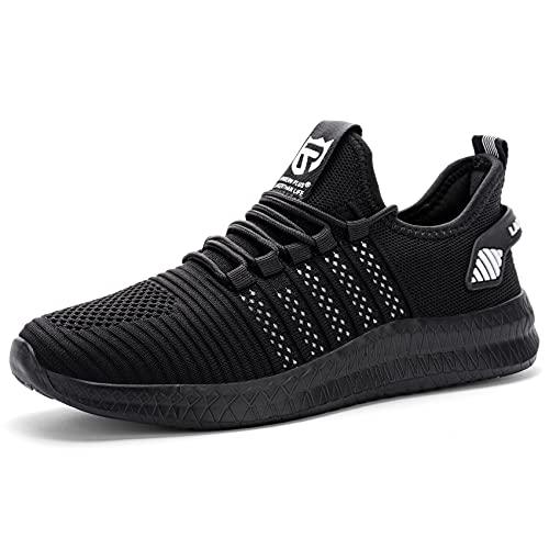 Larnmern Plus Zapatillas Hombre Deportes Causul Calzado Negro Blanco 42