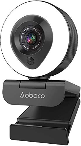 Aoboco Webcam 1080P Full HD mit Dual Mikrofon und Ringlicht, USB Pro Computer PC Web Kamera Stream für Streaming Video Chat Mac Windows Laptop Konferenz Spiele Twitch Xbox One Skype YouTube OBS Xsplit