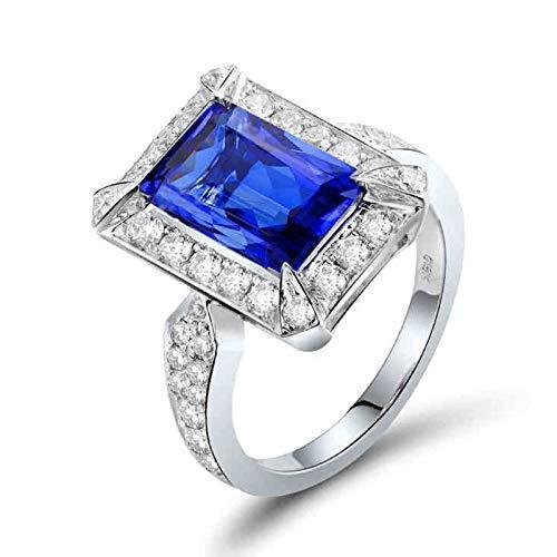 Daesar Anillos de Compromiso Mujer Oro Blanco 18K,Rectángulo Tanzanita Azul 4ct Diamante 1.03ct,Plata Azul Talla 12