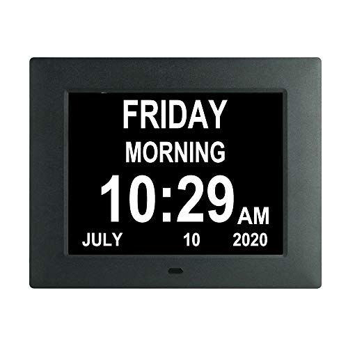 7 inch Digital Calendar Alarm Day Clock with 8 Alarm Options,AM/PM Function, Extra Large Non-Abbreviated Day&Month for Impaired Vision Aged Seniors,Dementia,Elderly, Memory Loss