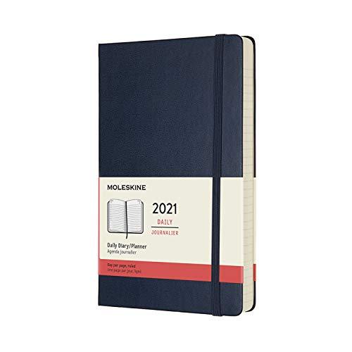 Moleskine - Agenda Diaria 2021 de 12 Meses con Tapa Dura y Cierre Elástico, Tamaño Grande de 13 x 21 cm, Color Azul Zafiro, 400 Páginas