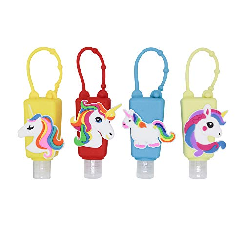 4Pcs Kids Empty Travel Bottle Hand Sanitizer Holder with Silicone Case Leak Proof Refillable Travel Containers, Liquid Soap, Lotion, Dinosaur (Unicorn)