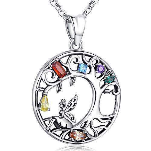 Friggem Silber Halskette für Frauen, Elfen Stammbaum des Lebens S925 Sterling Silber Anhänger mit Schmuck Geschenkbox & Farbiger Unendlichkeits Zirkon Edelstein