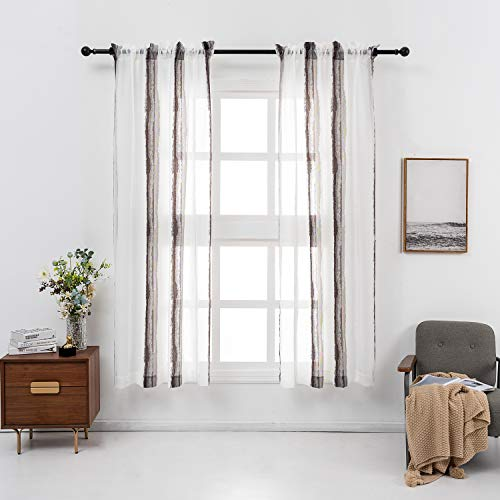 """VISIONTEX Boho Style White Sheer Curtains, Decorative Long Brown and White Bohemian Stripes Jacquard Window Drapes for Farmhouse Bedroom, Top Rod Pocket 54"""" x 95"""", 2 Panels"""