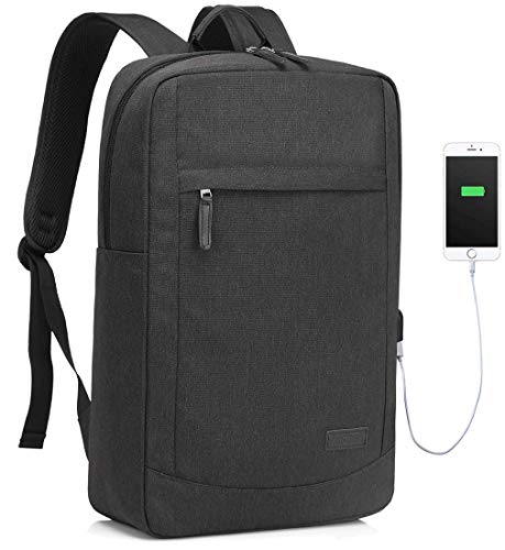 VASCHY Laptop Backpack for Men, Slim Laptop Backpack for 17 Inch Backpack with Waterproof Rain Cover Business Backpack with USB Charging Port -Black