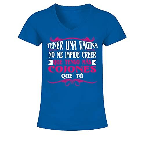 Camiseta de Pico Mujer Tener UNA Vagina. - Azul...