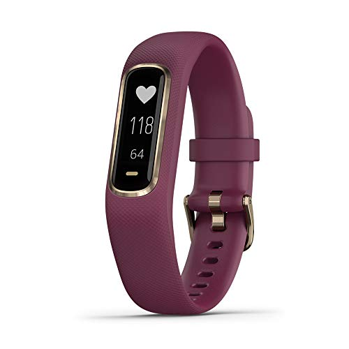 Garmin vivosmart 4, Activity and Fitness Tracker w/Pulse Ox and Heart Rate Monitor, Gold with Berry Band