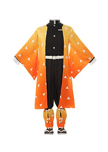 ROLECOS Japanese Traditional Kimono Outfit Anime Cosplay Costume Halloween Party (3XL, Orange)