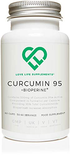 Curcumin 95 + Bioperine® by LLS | Highest Quality Turmeric Extract containing ONLY CURCUMIN (the active component of Turmeric) with 95% Curcuminoids and Bioperine® (black pepper extract) | 500mg x 60 Veg Capsules | Manufactured in UK under BRC Certification