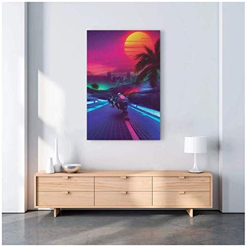 ZNNHERO Home Decoration Synthwave Midnight Outrun Canvas HD Sun Prints Poster Painting Living Room Wall Art Modular Picture-70x100cmx1 No Frame