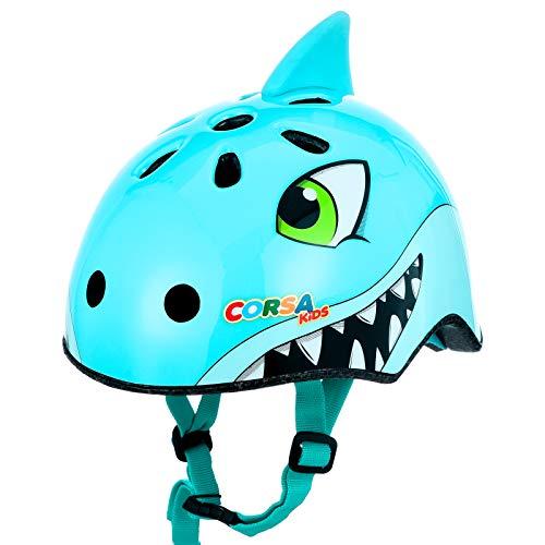 child bike helmets Kids Bike Helmet, Blue Shark Kids Toddler Bike Helmet 2-6 Boy Girl Adjustable Safety Child Helmet for Cycling Skating Scooter Multi-Sport