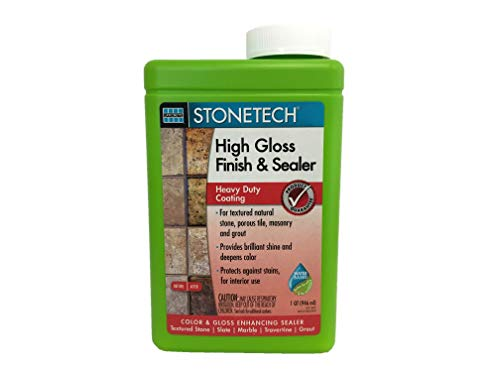 StoneTech High Gloss Finishing Sealer for Natural Stone, Tile, & Grout, 1-Quart (.946L)