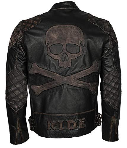 Feather Skin Mens Clothing Motorbiker Ride Mens Skull Rider chaqueta de cuero envejecido