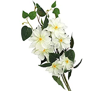 LSME 34 Inch Lotus Artificial Flower White,Clematis Flowers Bouquet with Long Stem and Green Leaves for Wedding Home Office Party Hotel Decoration