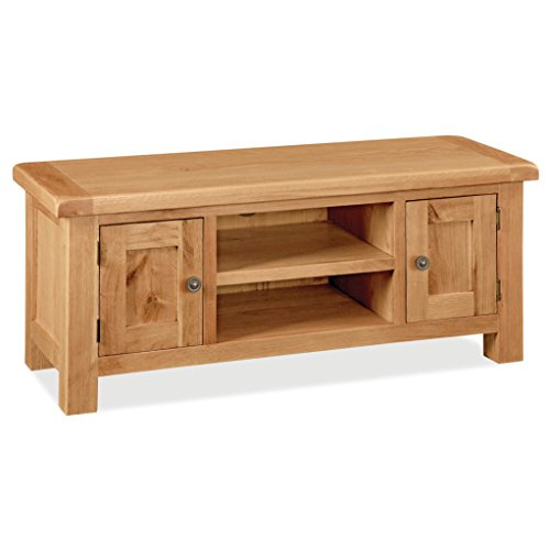 Sidmouth Oak Large TV Stand 120cm Unit for Living Room or Bedroom | Roseland Furniture Modern Solid Wooden Media Television Cabinet with Door for 54 inch Screen | Fully Assembled