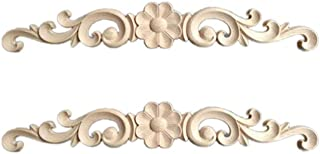 HEALLILY 2Pcs Wood Carved Applique Onlay Furniture Corner Onlay Decals Decorative Flower Frame Applique for Cabinet Door C...