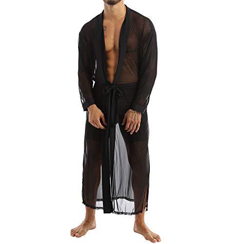 Kaerm Herren Lang Bademantel Transparent Unterwäsche Morgenmantel Männer Leicht Erotisch Nachtwäsche Langarm Schlafanzug In Schwarz Schwarz M