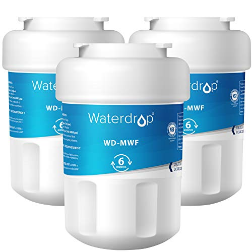 Waterdrop MWF Refrigerator Water Filter, Compatible with GE SmartWater MWF, MWFINT, MWFP, MWFA, GWF, HDX FMG-1, GSE25GSHECSS, WFC1201, RWF1060, 197D6321P006, Kenmore 9991, r-9991, NSF 42, Pack of 3