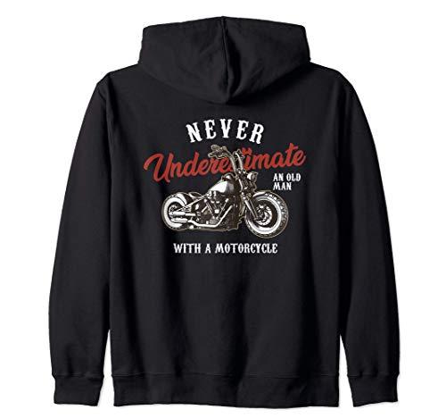 Never underestimate an old man with Motociclista Motocicleta Sudadera con Capucha