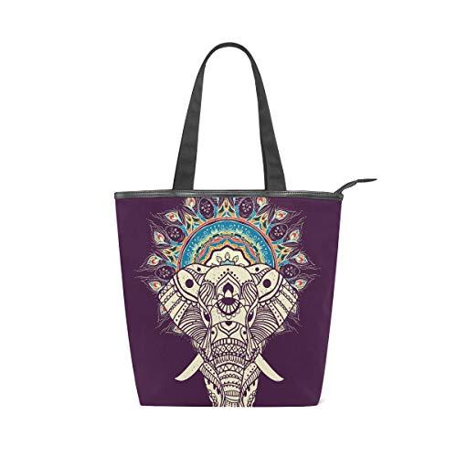 Jeansame - Bolso de lona para mujer, con cremallera, diseño de mandala y elefante