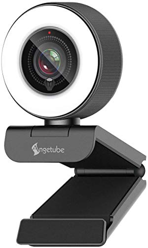Angetube Streaming HD Webcam 1080P con Anello di Luce, 967 USB PC autofocus Webcam con Doppio Microfono,videocamera per Mac Windows Portatile per conferenze e Giochi Xbox Skype OBS Twitch Youtube