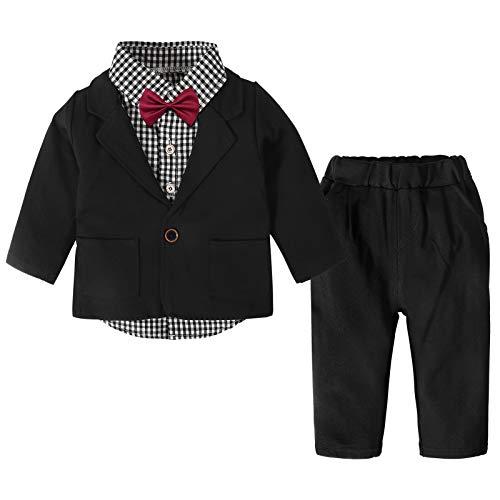 Nwada Anzug Junge Baby Vintage Bekleidungssets Sakkos Set Hochzeit Blazer und Hemd und Hose Feierliche Klamotten 18-24 Monate