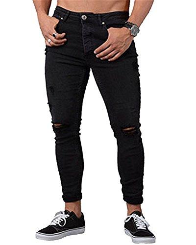 Herren Leichte Sommerhose Skinny Jeans Denim Jeanshose Hose Mit Löchern Am Knie Schwarz M