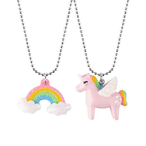 Collar con colgante de unicornio arcoíris para niñas - Joyas de unicornio - Collar con colgante de unicornio arcoíris - 2 unidades
