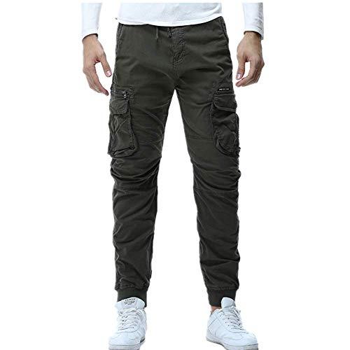 Herrenhose Jogger Militär Lässige Baumwollhose Hip Hop Kordelzug Elastische Taille Overalls