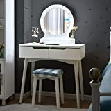 Giantex Vanity Set with Round Lighted Mirror, Makeup Dressing Table with 8 Light Bulbs and Brightness Adjustable, Bedroom Makeup Table with Cushioned Stool and 2 Sliding Drawers (White)