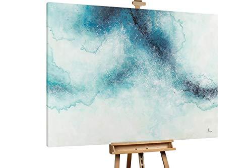 Kunstloft® Extraordinario Cuadro al óleo 'Ocean Surface' 200x150cm | Original Pintura XXL Pintado a Mano sobre Lienzo | Abstracto Gradiente Turquesa Blanco | Mural de Arte Moderno