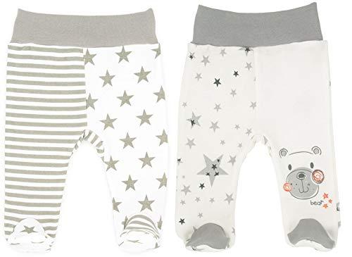 Makoma Baby Strampelhose mit Fuß Junge & Mädchen 2er Pack 100% Baumwolle Eule & Teddy (56)