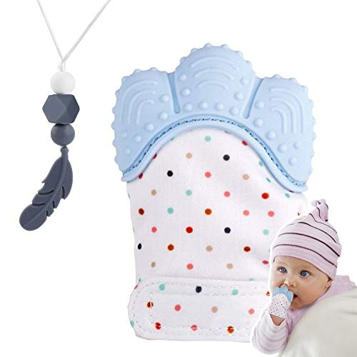 Guantino in Silicone per Bebè, Guanto di Dentizione, Lenitivo del Dolore, Protegge le Mani dei Bambini dai Morsi + Collana da Allattamento Massaggiagengive (Blu freddo)