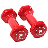 Crown Sporting Goods Brightbells Vinyl Hex Hand Weights, Spectrum Series I: Tropical - Colorful Coated Set of Non-Slip Dumbbell Free Weight Pairs - Home & Gym Equipment (2)