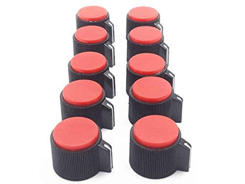 10Pcs Black Knob With Red Pointer For Potentiometer Hight 15 Mm ss
