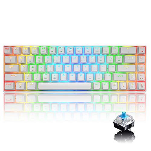 60% RGB Mechanical Gaming Tastatur Typ C verkabelt 68 Tasten 18 RGB Hintergrundbeleuchtung USB wasserdichte Tastatur Anti-Ghosting-Tasten für Spieler und Schreibkräfte (weißer/Blauer Schalter)