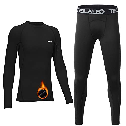 TELALEO Boys' Girls' Long Sleeve Compression Shirts Thermal Fleece Lined Kids Athletic Sports Tops Leggings Baselayer Set smal