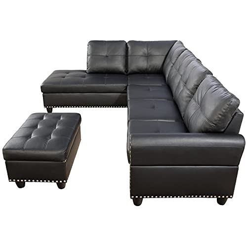 Devion Furniture Faux Leather Sectional Sofa with Ottoman in Black