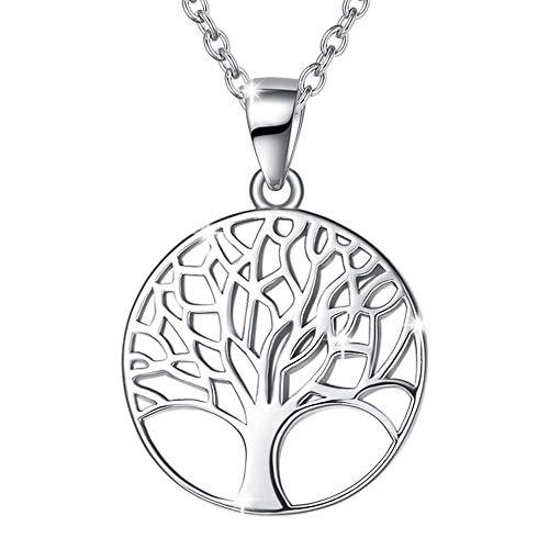 Lebensbaum Kette aus Solide 925 Sterling Silber 18mm Durchmesser Anhänger Halskette Einfach Minimalistisch Geschenk Schmuck für Damen Mädchen - Verstellbar Kettenlänge: 40 + 5 cm